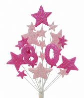 Number age 80th birthday cake topper decoration in shades of pink - free postage